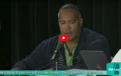 Keahi Warfield's Testimony in the TMT Contested Case Hearing